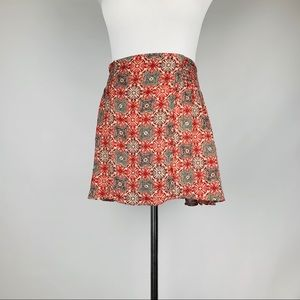 Free people boho pattern mini skirt